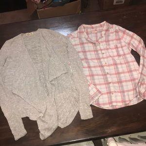 Lot of 2! Knit Cardigan & Lightweight Flannel!